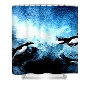 Penquin Joy Play  In Huge Waves Shower Curtain