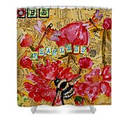Peony Flower Painting - Be Fearless Shower Curtain