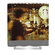 People At One Of The First Starbucks Shower Curtain