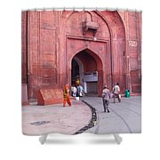 People Entering The Entrance Gate To The Red Colored Red Fort In New Delhi In India Shower Curtain
