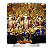 People Offering Prayers At The Iskcon Temple In Delhi Shower Curtain