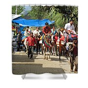 People On Horseback And On Foot Making The Climb To The Vaishno Devi Shrine In India Shower Curtain