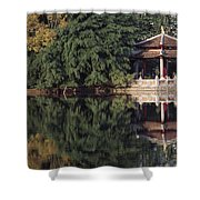 People Resting Under Pagoda On Hoan Shower Curtain