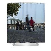 People Walk Along The Rhine River Shower Curtain