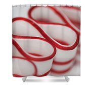Peppermint Christmas Ribbons Shower Curtain