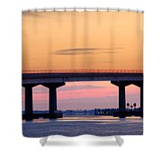 Perdido Bridge Sunrise Closeup Shower Curtain