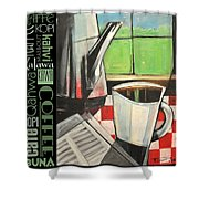 Perk Coffee Languages Poster Shower Curtain