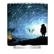 Person In Ice Cave, Appa Glacier Shower Curtain