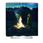 Person Standing By A Bonfire In The Moonlight Shower Curtain