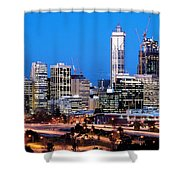 Perth City Night View From Kings Park Shower Curtain by Yew Kwang