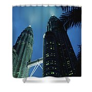 Petronas, Twin Towers At Night, Low Shower Curtain