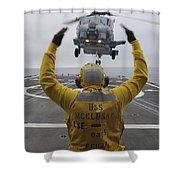 Petty Officer Guides An Sh-60r Sea Hawk Shower Curtain