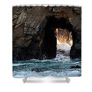 Pfeiffer Rock Big Sur Shower Curtain by Bob Christopher