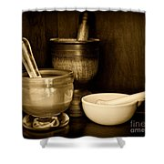 Pharmacy - Mortars And Pestles - Black And White Shower Curtain