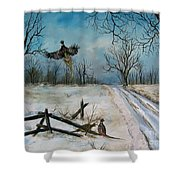 Pheasants In The Snow Shower Curtain