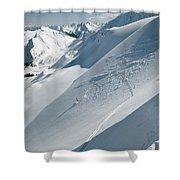 Phil Atkinson Skiing The Dogtooth Range Shower Curtain