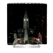 Philadelphia City Hall And Swann Fountain At Night Shower Curtain