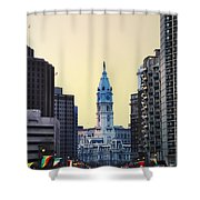 Philadelphia Cityhall At Dawn Shower Curtain by Bill Cannon