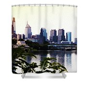 Philadelphia From The Banks Of The Schuylkill River Shower Curtain