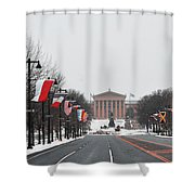 Philadelphia Parkway In The Snow Shower Curtain