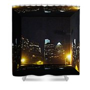 Philadelphia Skyline At Night - Mirror Box Shower Curtain
