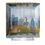 Philadelphia Skyline - Mirror Box Shower Curtain