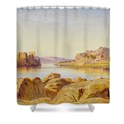 Philae - Egypt Shower Curtain by Edward Lear
