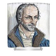 Philipp Melanchthon (1497-1560). German Scholar And Religious Reformer: Line Engraving, German, 19th Century Shower Curtain