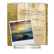 Photo Of Boat On The Sea With Bible Verse Shower Curtain
