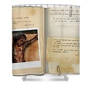 Photo Of Crucifix With Bible Verses. Shower Curtain