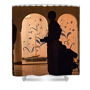 Photographers In Silhouette At A Heritage Building In Rajasthan In India Shower Curtain