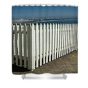 Picket Fence By The Cabrillo National Monument Lighthouse In San Diego Shower Curtain