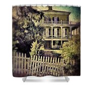 Picket Gate To Large House Shower Curtain