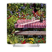 Picnic Table Among The Flowers Shower Curtain