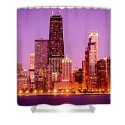 Picture Of Chicago Skyline By Night Shower Curtain