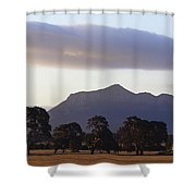 Picturesque Mountain Ranges Loom Shower Curtain
