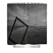 Picturing The Road Ahead Shower Curtain by Empty Wall