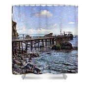 Pier Along Rocky Shore Shower Curtain