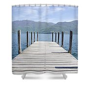 Pier And Snow-capped Mountain Shower Curtain