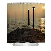 Pier And Sunset Shower Curtain