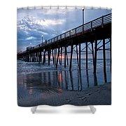 Pier At Sundown Shower Curtain