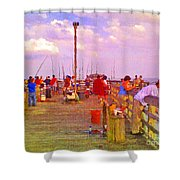 Pier Fishing Shower Curtain