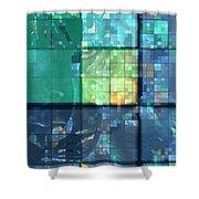 Piercing Geo Green Shower Curtain