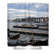 Piers Of Oslo Harbor Shower Curtain