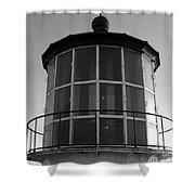 Pigeon Point Lighthouse Beacon - Black And White Shower Curtain