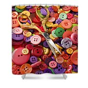 Pile Of Buttons With Scissors  Shower Curtain by Garry Gay