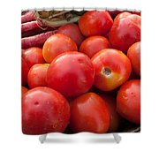 Pile Of Red Luscious Tomatoes Along With Carrots On A Vegetable Basket Shower Curtain