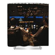 Pilots In The Cockpit Of An Aircraft Shower Curtain