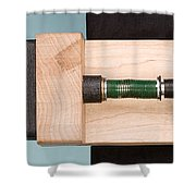 Pinball Spring Compressed Shower Curtain by Ted Kinsman