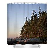 Pine Trees Along The Rocky Coastline Shower Curtain